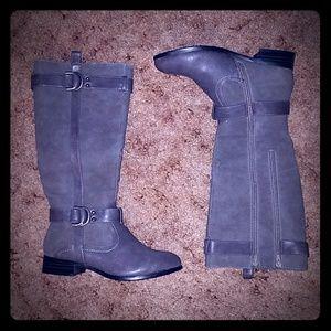 Pierre Dumas Woman's Double Zip Suede Boots Sz 7M
